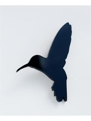 Брошь Колибри черная НечегоНадеть. Цвет: черный