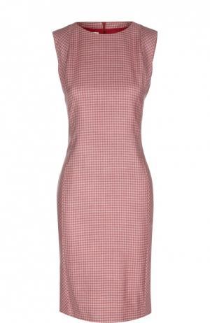 Кашемировое платье-футляр в клетку с вырезом лодочка Kiton. Цвет: розовый