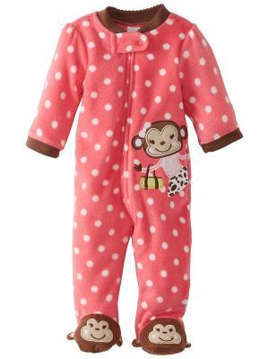Комбинезон для сна флисовый Обезьянка Little Me. Цвет: розовый