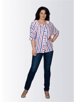 Блузка Лагуна. Цвет: синий, белый, красный