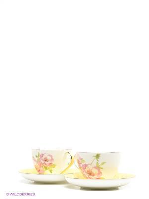 Чайный набор на 2 перс. Пионы (Torino Peony Pavone) Pavone. Цвет: желтый, белый