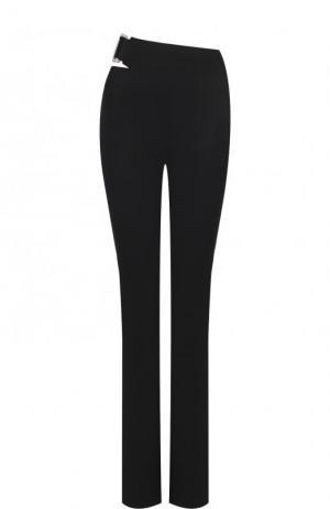 Однотонный брюки прямого кроя из шерсти Helmut Lang. Цвет: черный