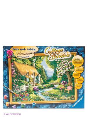 Раскраска по номерам Дом в саду Ravensburger. Цвет: синий, розовый, желтый