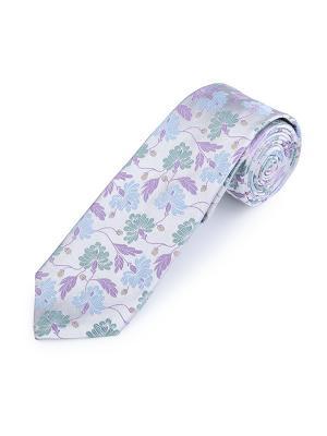 Галстук Monroe Floral White Duchamp. Цвет: серо-зеленый, светло-голубой, светло-серый, сиреневый