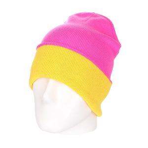Шапка двусторонняя женская  New Reversible Beanie Pink/Yellow Skills. Цвет: розовый,желтый