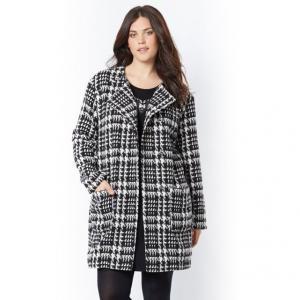 Пальто прямого покроя TAILLISSIME. Цвет: узор куриная лапка