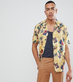 ASOS Вискозная oversize-рубашка с принтом и воротником в виде лацканов. Цвет: желтый