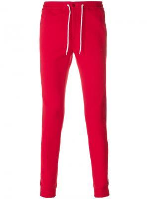 Спортивные брюки с контрастными полосками Daniele Alessandrini. Цвет: красный