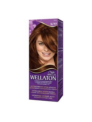 Крем-краска для волос интенсивная 5/77 Какао WELLATON. Цвет: фиолетовый