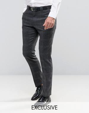 Noak Строгие зауженные брюки с начесом в клетку. Цвет: серый