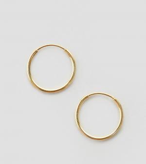 ASOS Позолоченные серебряные серьги‑кольца 9 мм. Цвет: золотой