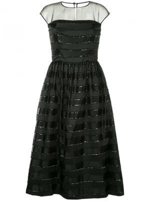 Платье в полоску с кружевной отделкой Ingie Paris. Цвет: чёрный