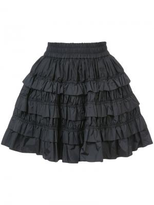 Оборчатая мини-юбка Jourden. Цвет: чёрный