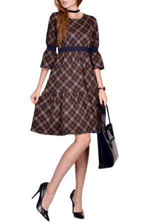 Полуприлегающее платье с юбкой Колокольчик FRANCESCA LUCINI. Цвет: синий
