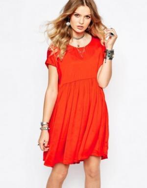 Gat Rimon Оранжевое платье с присборенной юбкой Collie. Цвет: оранжевый