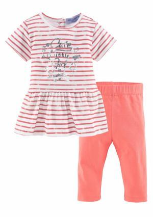 Комплект, 2 части: платье + легинсы KLITZEKLEIN. Цвет: с рисунком/абрикосовый