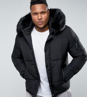 Sixth June Черная дутая куртка с меховой отделкой на капюшоне PLUS. Цвет: черный