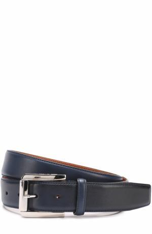 Кожаный ремень с металлической пряжкой Santoni. Цвет: синий