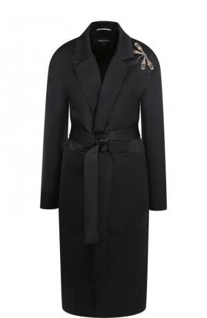 Однотонное пальто с поясом и декоративной отделкой Rochas. Цвет: черный