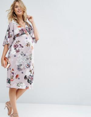ASOS Maternity Платье-футляр для беременных с цветочным принтом. Цвет: мульти