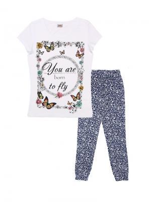 Комплект женский (футболка, брюки) Family Colors. Цвет: белый