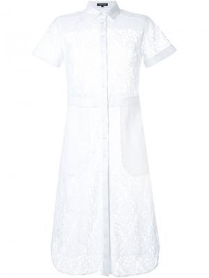 Кружевное платье-рубашка Loveless. Цвет: белый
