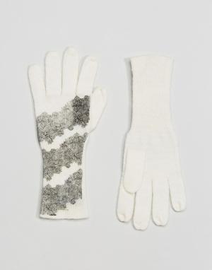 Alice Hannah Перчатки с кружевным принтом. Цвет: кремовый