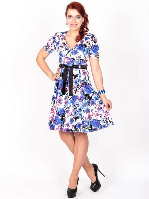 Платье Lautus. Цвет: белый, синий