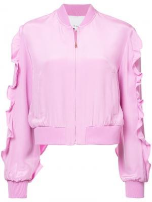 Куртка-бомбер с оборками Tibi. Цвет: розовый и фиолетовый