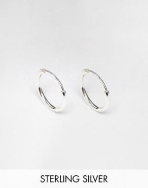 Reclaimed Vintage Серебряные серьги-кольца 12 мм. Цвет: серебряный