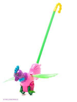 Тилибом  Малютка Каталка-петуна, машет крыльями, 48на26на13см. Цвет: розовый, зеленый, фиолетовый