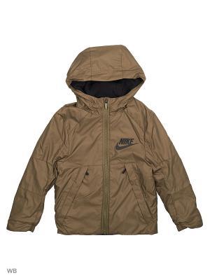 Куртка B NSW JKT HD FLEECE LINED Nike. Цвет: оливковый