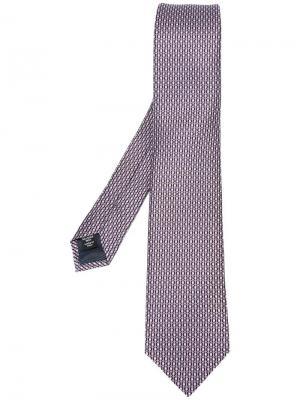 Галстук с геометрическим узором Ermenegildo Zegna. Цвет: розовый и фиолетовый