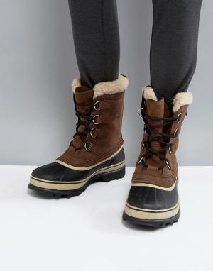 Sorel Водонепроницаемые ботинки Caribou. Цвет: коричневый