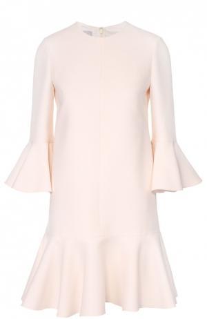 Платье прямого кроя с укороченным рукавом и оборками Valentino. Цвет: белый