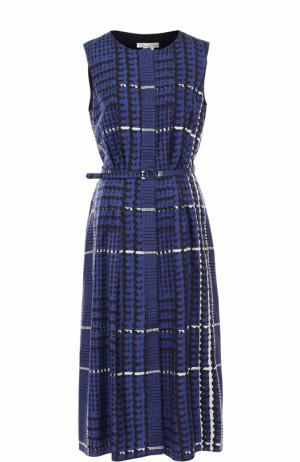 Шелковое платье-миди с принтом Oscar de la Renta. Цвет: синий