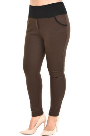 Зауженные брюки с поясом на резинке Svesta. Цвет: коричневый