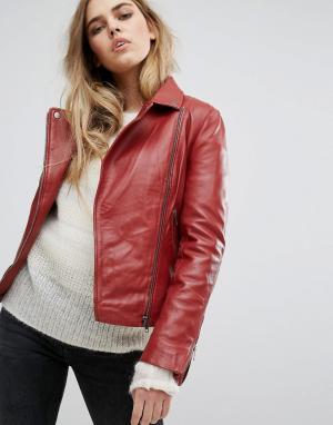 Muubaa Кожаная байкерская куртка Chello. Цвет: красный