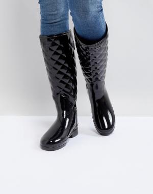 Hunter Высокие резиновые сапоги со стеганой отделкой Original. Цвет: черный