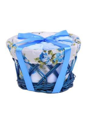 Набор салфеток в корзиночке 30х30 - 8 предметов La Pastel. Цвет: белый, голубой