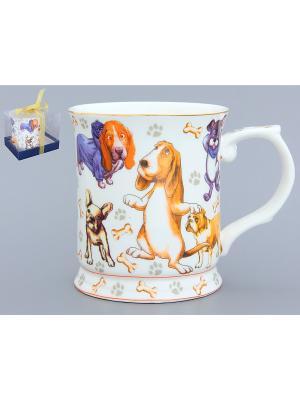 Кружка Веселые собачки Elan Gallery. Цвет: белый, синий, оранжевый