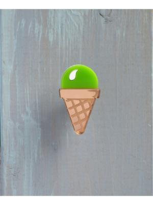 Брошь Мороженое фисташковое НечегоНадеть. Цвет: салатовый, белый, золотистый