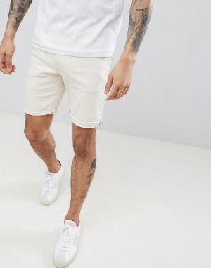 Selected Homme Белые джинсовые шорты. Цвет: белый