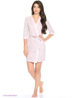 Комплект домашний(халат, майка, шорты) MARSOFINA. Цвет: розовый, серый