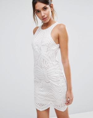 Love Triangle Кружевное платье мини Art Deco. Цвет: белый
