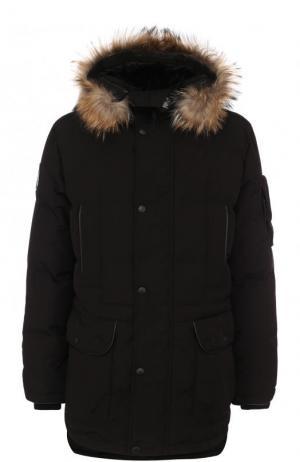 Пуховая парка NEFT с меховой отделкой капюшона Arctic Explorer. Цвет: черный