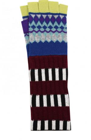 Удлиненные митенки из смеси кашемира и шерсти с принтом Burberry. Цвет: голубой