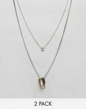 Icon Brand 2 ожерелья с геометрическими подвесками. Цвет: серебряный