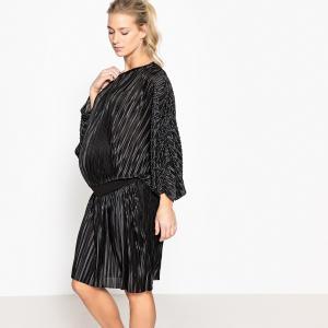 Платье для периода беременности с плиссировкой на эластичном поясе La Redoute Collections. Цвет: черный