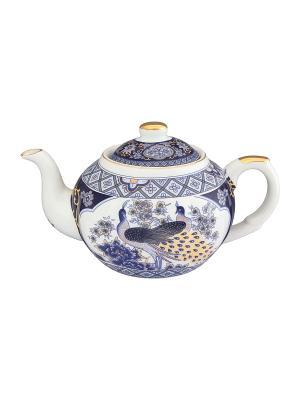 Чайник с металлическим ситом Павлин синий Elan Gallery. Цвет: синий, белый